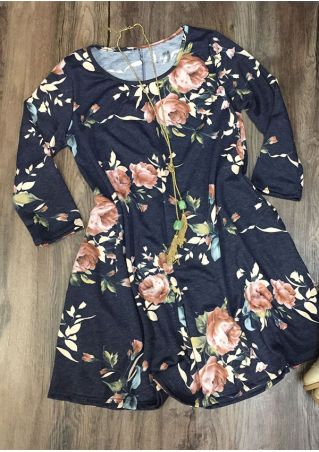 Plus Size Floral O-Neck Casual Mini Dress