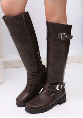 Solid Zipper Buckle Round Toe Boots