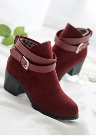 Buckle Round Toe Heeled Boots