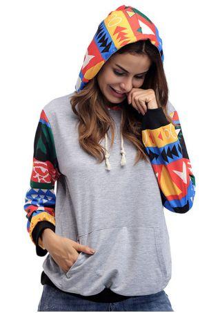 Geometric Printed Pocket Drawstring Sweatshirt