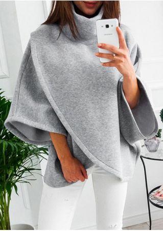 Solid Wrap Turtleneck Batwing Sleeve Coat