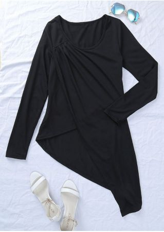 Solid Ruched Asymmetric O-Neck Blouse