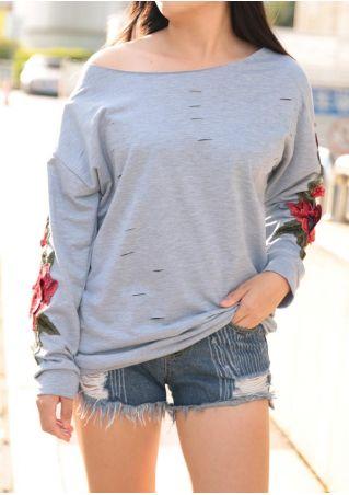 Applique Hollow Out Multi-Way Sweatshirt