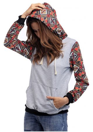 Geometric Splicing Drawstring Pocket Hoodie