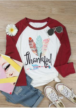 Thankful Feather O-Neck Baseball T-Shirt