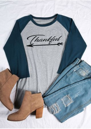 Thankful Arrow O-Neck Baseball T-Shirt