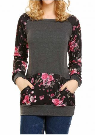 Floral Splicing Pocket Long Sleeve Sweatshirt