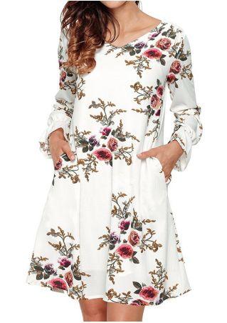 Floral Hollow Out Pocket Mini Dress