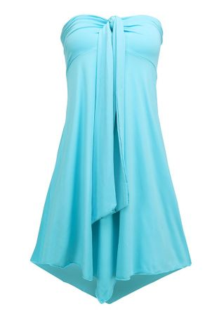 Solid Knot Asymmetric Multi-Way Mini Dress