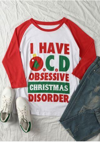 I Have OCD Obsessive Christmas Disorder Baseball T-Shirt