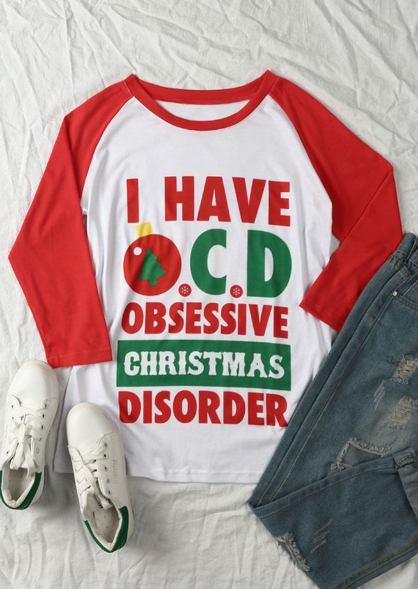I Have OCD Obsessive Christmas Disorder Baseball T-Shirt - Bellelily
