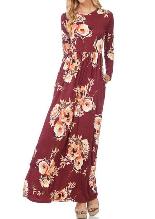 Floral Long Sleeve Maxi Dress 164528