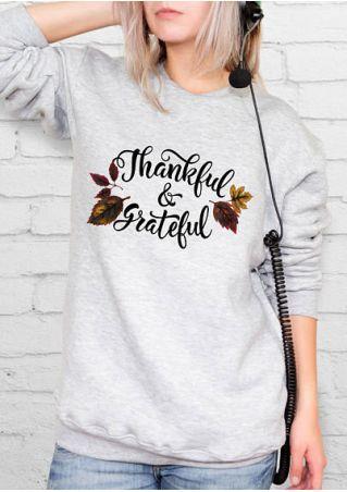 Thankful & Grateful Leaf O-Neck Sweatshirt
