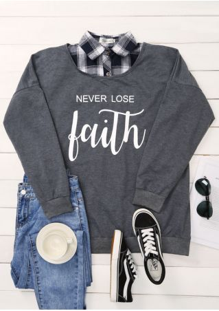 Plus Size Never Lose Faith O-Neck Sweatshirt