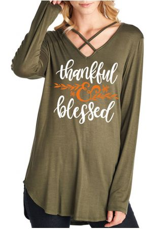 Thankful & Blessed Criss-Cross Blouse