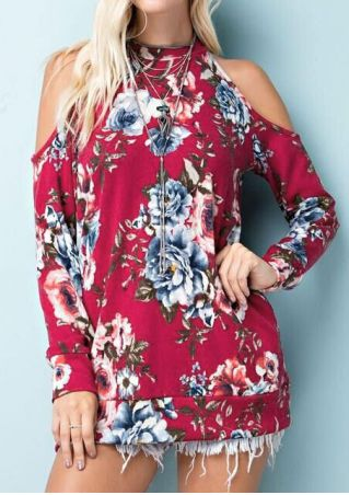 Floral Cold Shoulder Blouse without Necklace