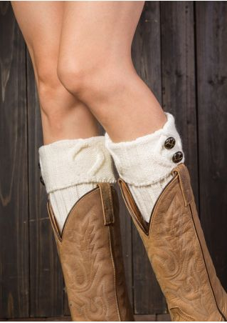 Solid Button Knitted Boot Cuffs