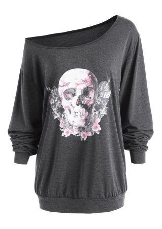 Plus Size Floral Skull One Shoulder Blouse