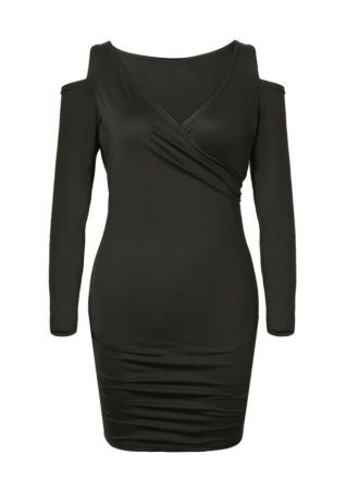 Solid Cold Shoulder Wrap Bodycon Dress