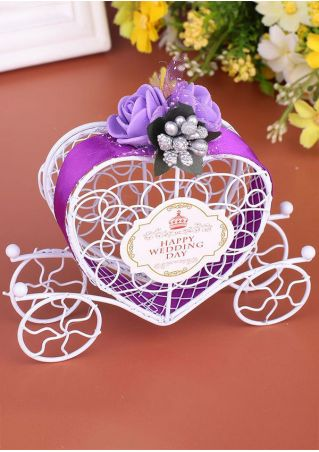 Happy Wedding Day Carriage Designed Ribbon Candy Box
