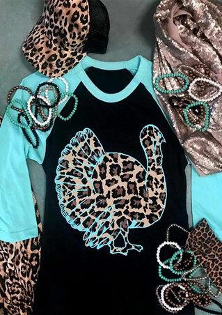 Turkey Wild Gobbler Leopard Printed Baseball T-Shirt Tee - Black