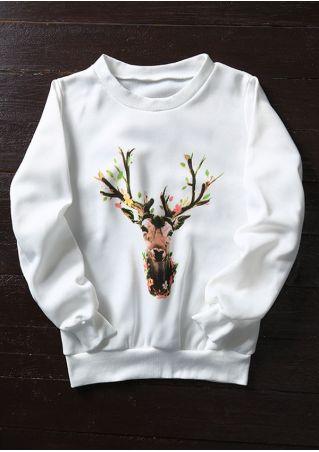 Christmas Floral Reindeer O-Neck Sweatshirt