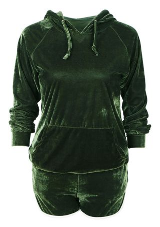 Splicing Drawstring Pocket Hoodie and Shorts Set