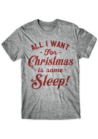 Plus Size Christmas Sleep O-Neck T-Shirt