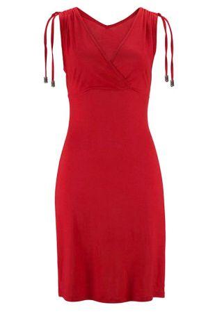 Solid Wrap V-Neck Bodycon Dress