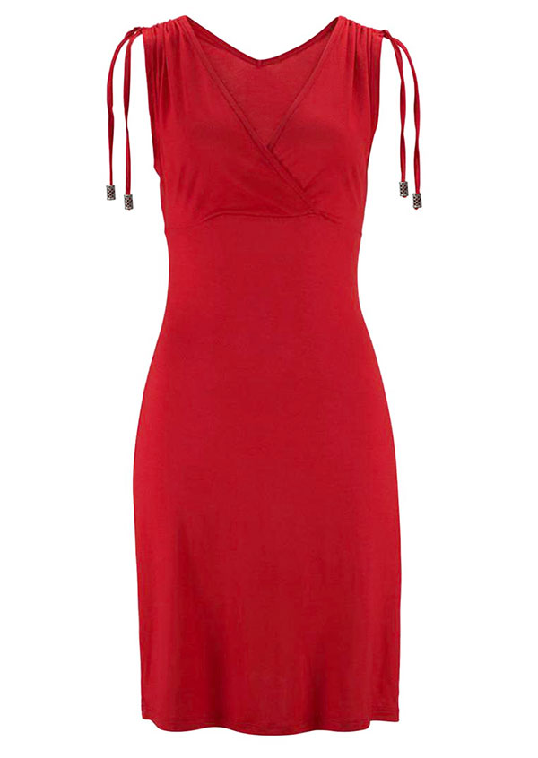 Solid Wrap V-Neck Bodycon Dress