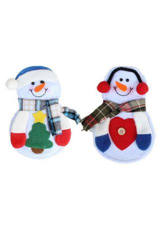1 Pair Christmas Snowman Fork Spoon Knife Tableware Bag