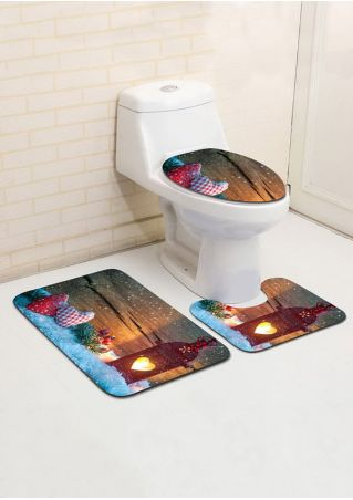 3Pcs/Set 3D Christmas Toilet Cover Lid Mat and Floor Rug