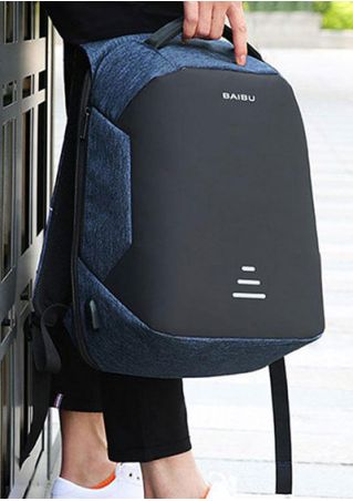 Color Block Anti-theft Backpack with USB Charging Port