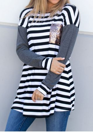 Sequined Striped Splicing O-Neck Blouse