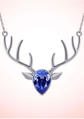 Christmas Reindeer Head Imitated Crystal Necklace
