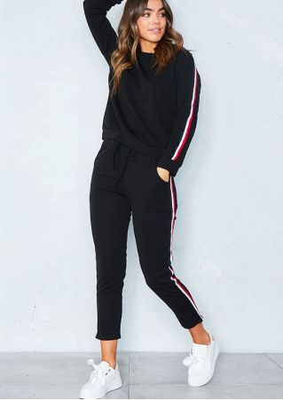 Striped Splicing O-Neck Sweatshirt and Pants Set