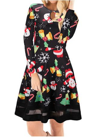 Christmas Snowman Santa Hollow Out Mini Dress