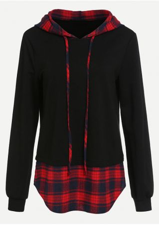 Plus Size Plaid Splicing Drawstring Long Sleeve Hoodie