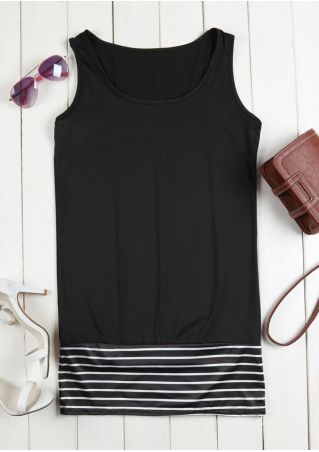 Striped Splicing Sleeveless Mini Dress