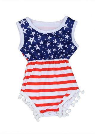 Girls American Flag Striped Romper and Headband Set