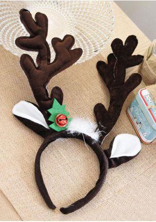 Christmas Elk Plush Antlers Bell Headband