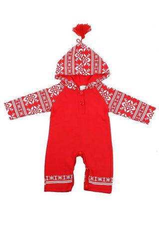 Baby Printed Tassel Hooded Jumpsuit Red