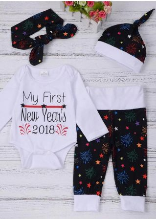 Baby Letter Firework Romper Pants Headband and Cap Set