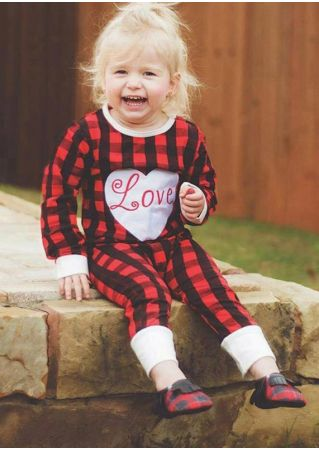 Baby Love Heart Plaid Jumpsuit Red