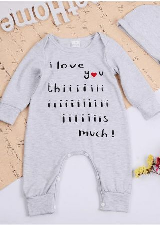 Baby I Love You Jumpsuit and Hat Set Gray