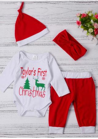 Baby Taylor's First Christmas Romper Pants Hat and Hedaband Set Red