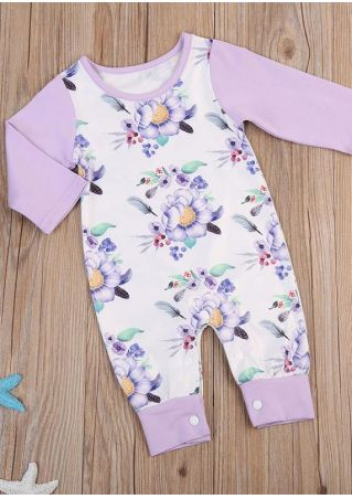Baby Floral Splicing O-Neck Jumpsuit