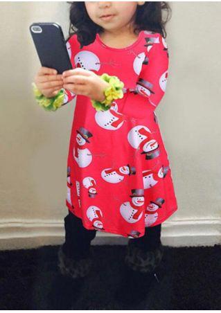 Girls Christmas Snowman One-Piece Dress