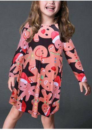 Girls Gingerbread Man Christmas Dress Multicolor