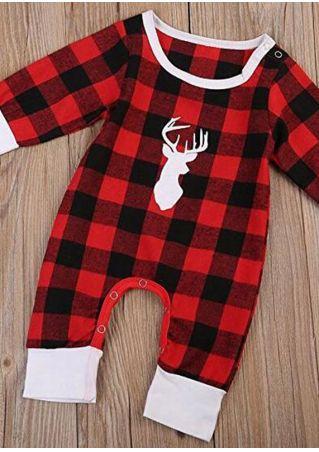 Baby Reindeer Plaid Jumpsuit Red